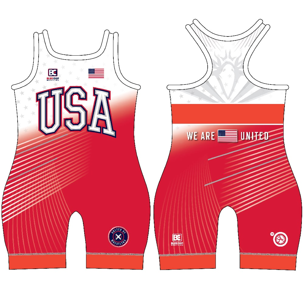 Blue Chip United Women's Wrestling Singlet - Red