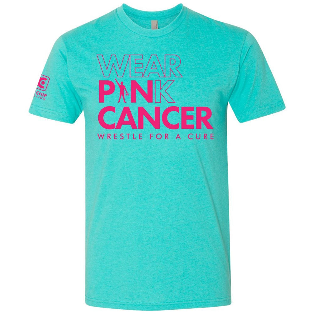 Wear Pink / Pin Cancer Blue Wrestling T-Shirt