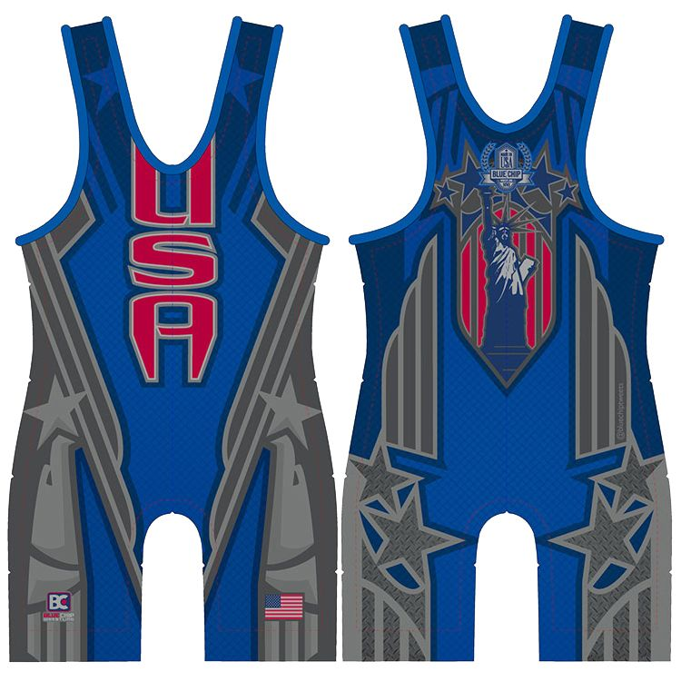 Made 4 U Blue Patriot Wrestling Singlet