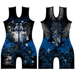 Made 4 U Women's Blue Faith Wrestling Singlet