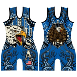 Made 4 U Women's Blue USA Triumph Wrestling Singlet