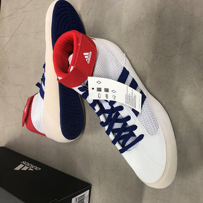 Discolored Adidas HVC 2 Wrestling Shoes (White / Red / Royal)