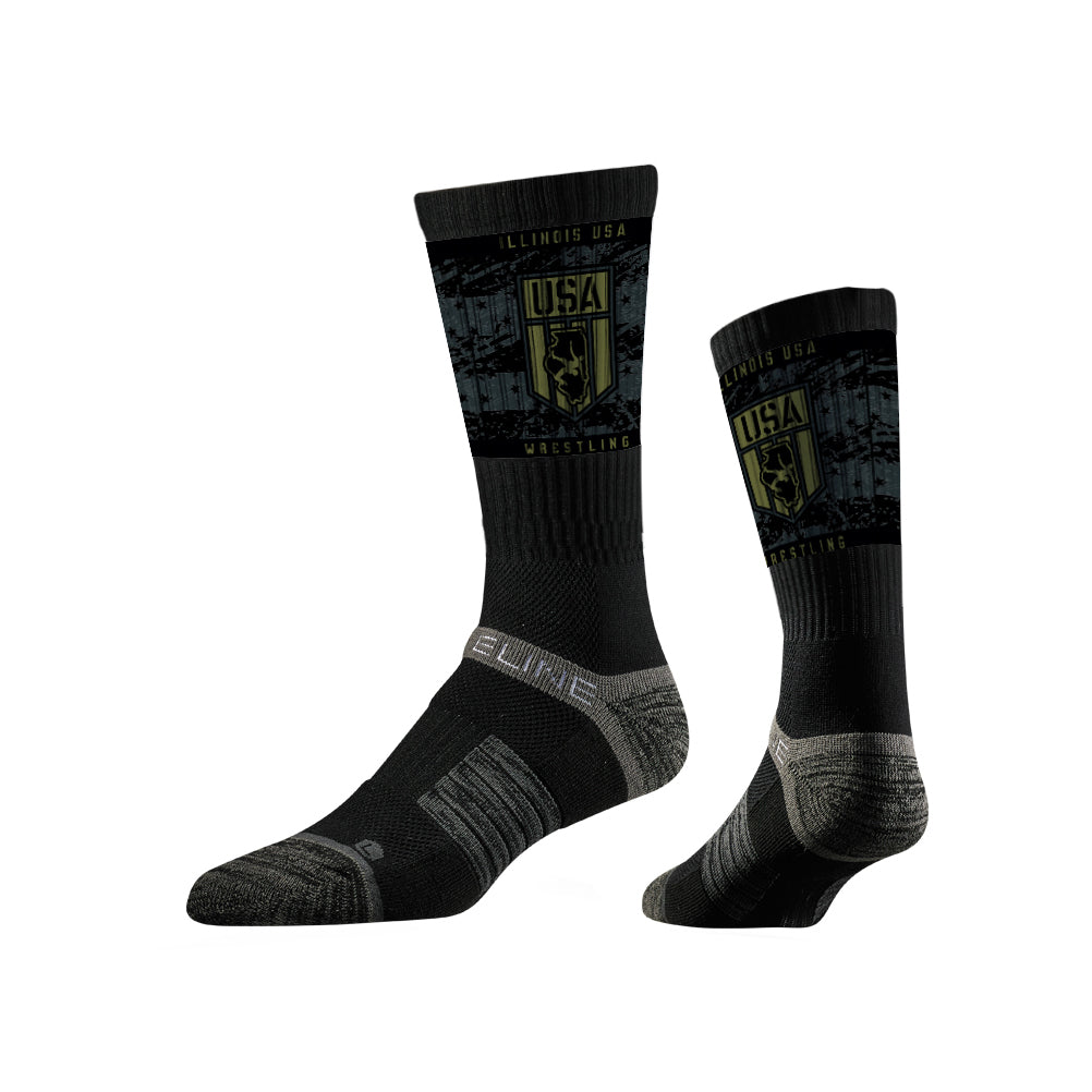 Illinois USA Wrestling Sublimated Black Performance Socks