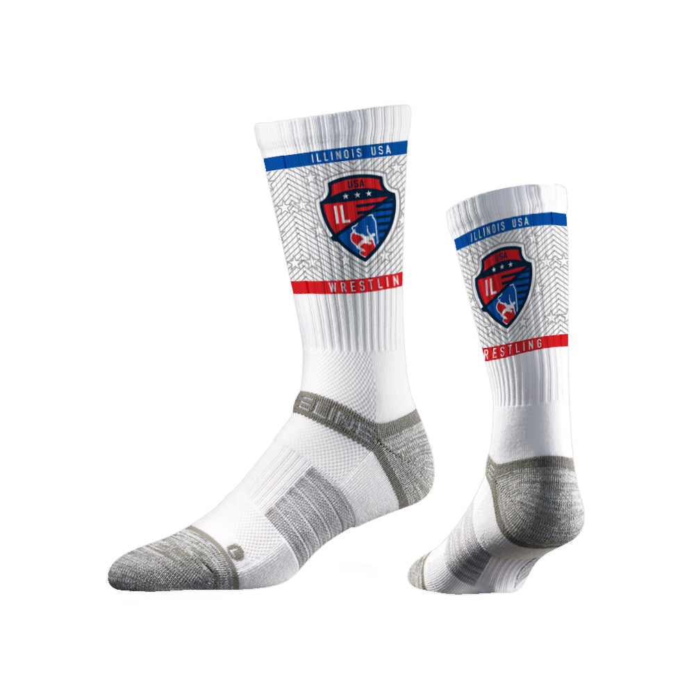 Illinois USA Wrestling Sublimated White Performance Socks