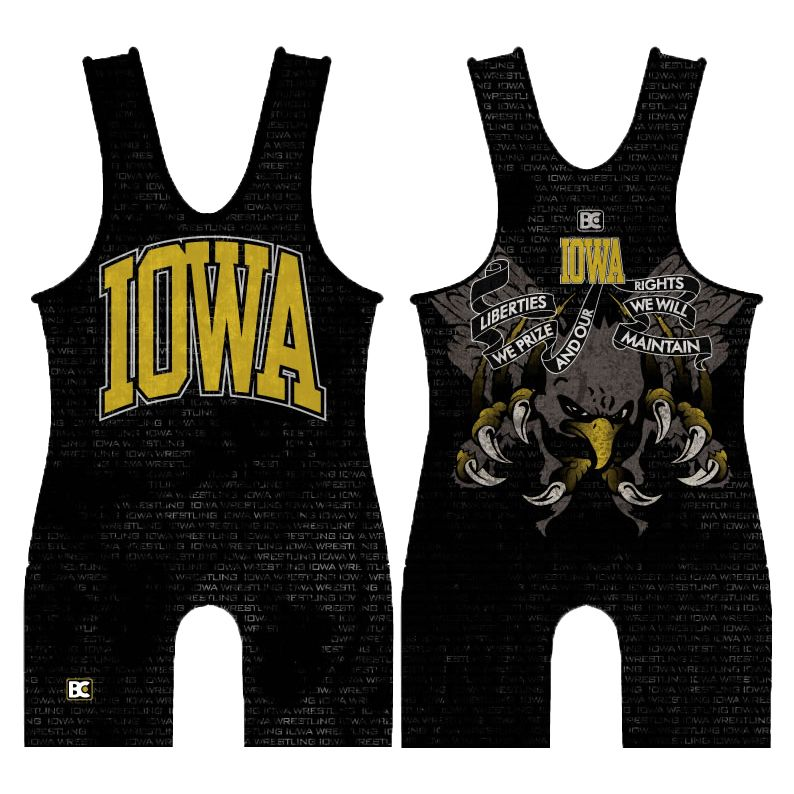 Made 4 U Iowa Hawk Reloaded Wrestling Singlet
