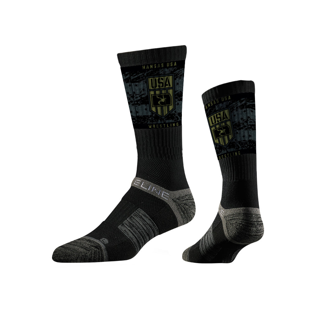 Kansas USA Wrestling Sublimated Black Performance Socks