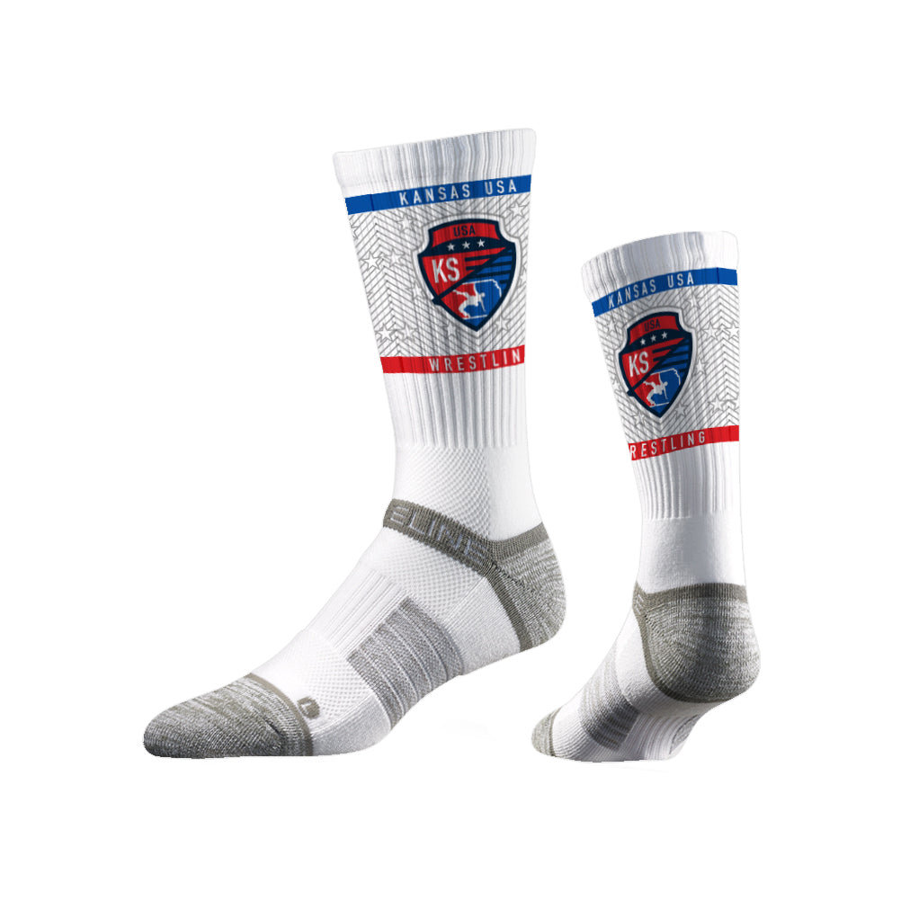 Kansas USA Wrestling Sublimated White Performance Socks