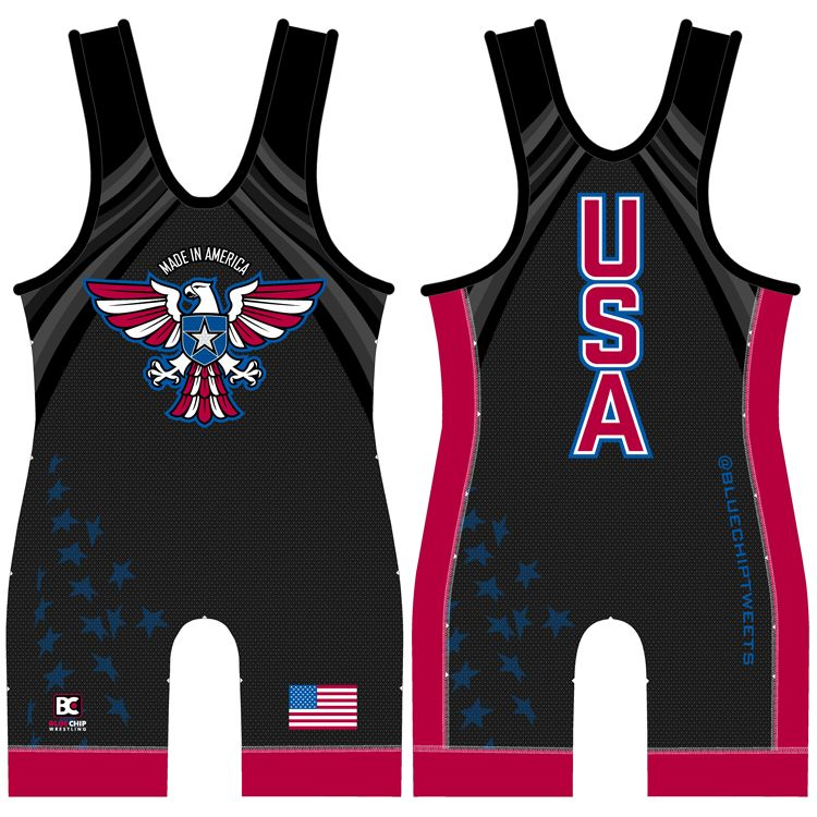 Made in America Wrestling Singlet (Black)