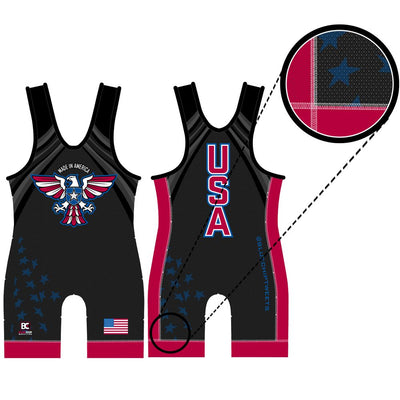 Made 4 U Made in America Wrestling Singlet (Black)