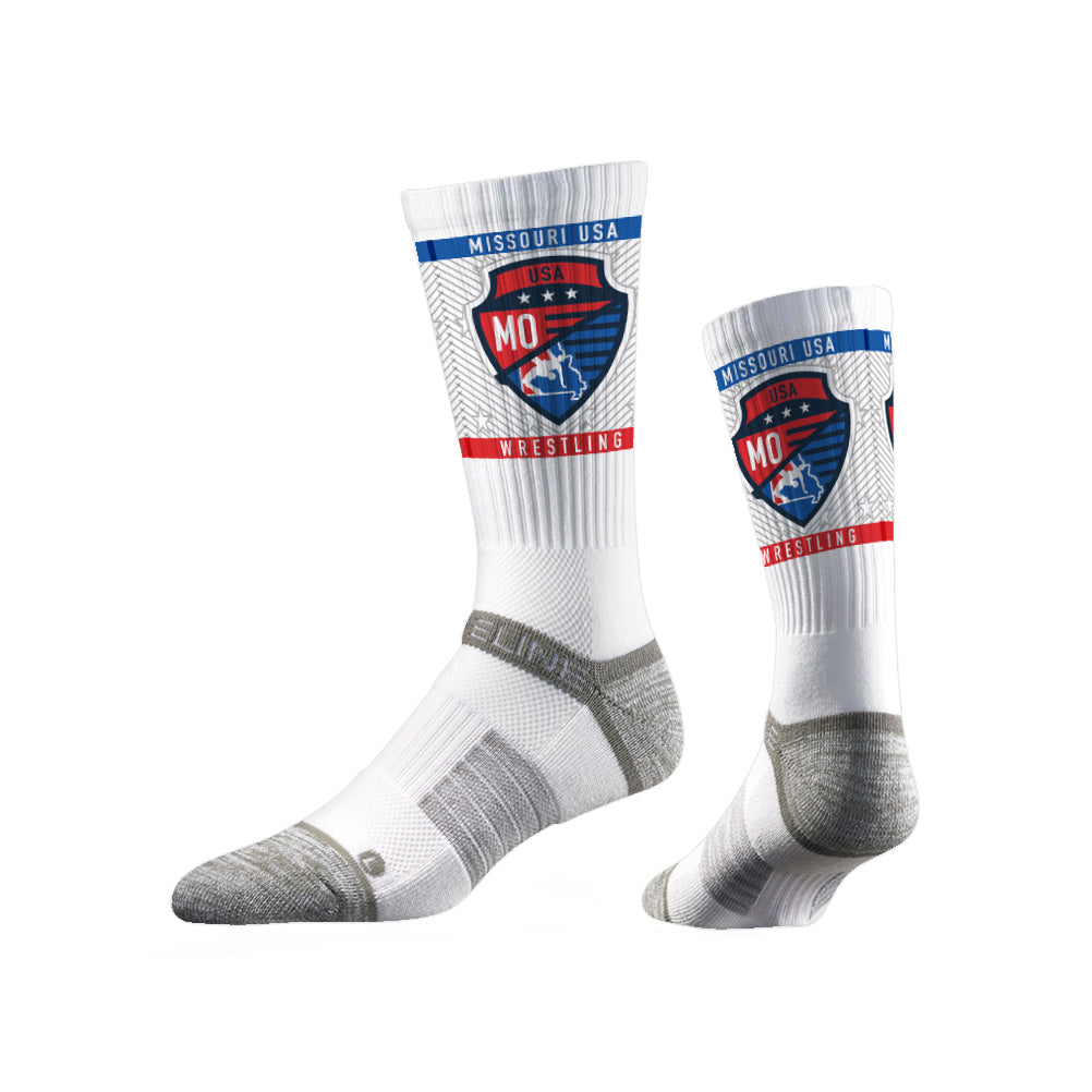 Missouri USA Wrestling Sublimated White Performance Socks