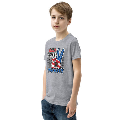 Red White and Twooo Youth Premium Wrestling T-Shirt