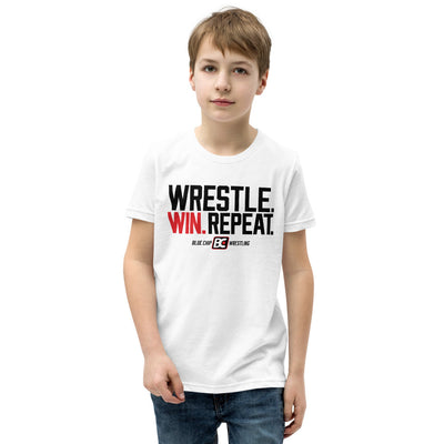 Wrestle Win Repeat Youth Premium Wrestling T-Shirt
