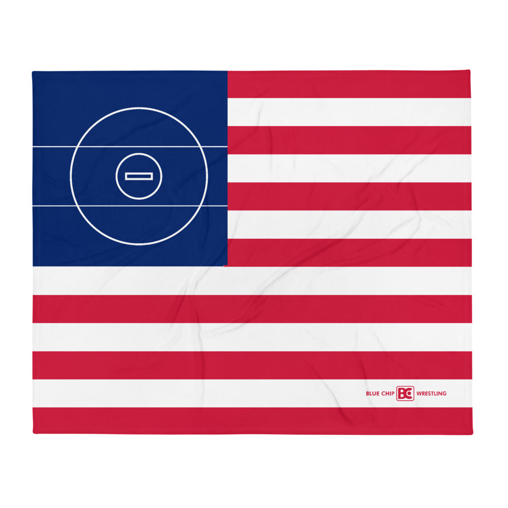 American Flag Wrestling Mat Throw Blanket