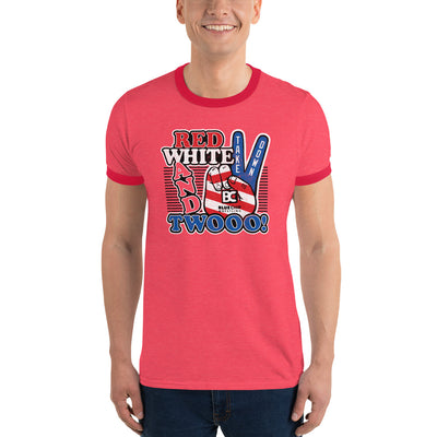 Red White and Twooo Customizable Ringer T-Shirt