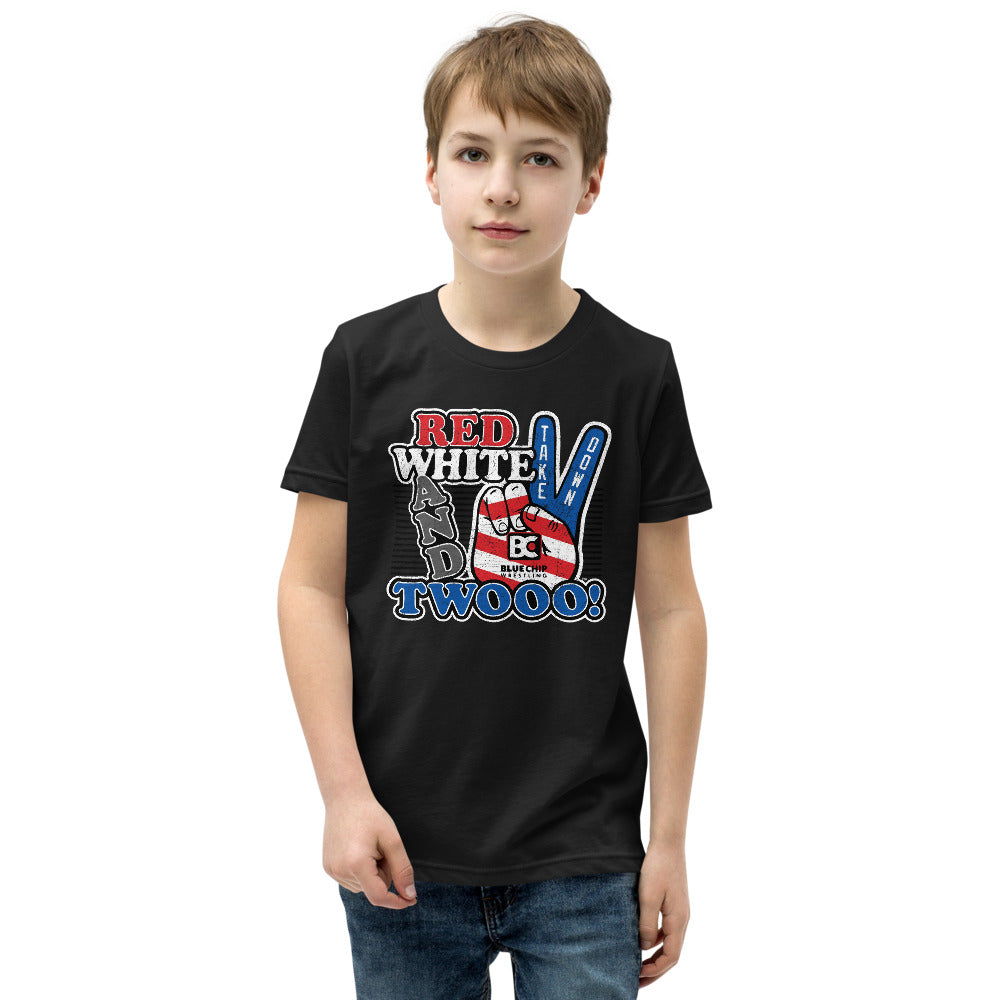 Red White and Twooo Youth Customizable Premuim Wrestling T-Shirt