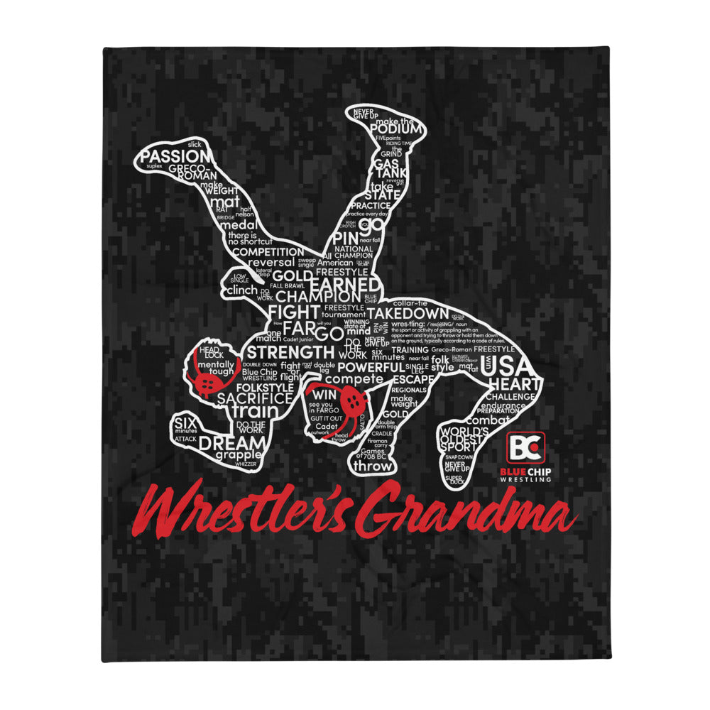 Wrestler's Grandma Throw Blanket