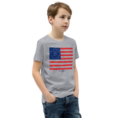 American Flag Wrestling Mat Youth Customizable Premium Wrestling T-Shirt