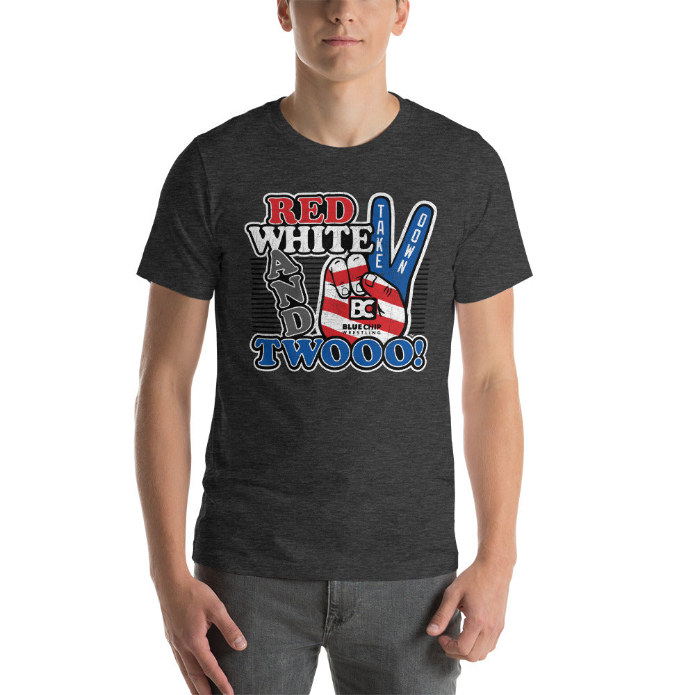 Red White and Twooo Customizable Premium Wrestling T-Shirt