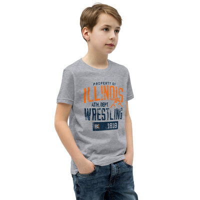 Property of Illinois Youth Customizable Premium Wrestling T-Shirt