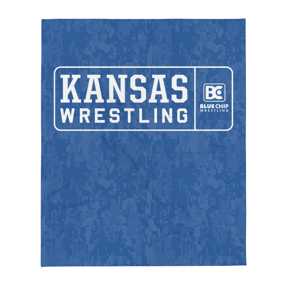 Kansas Wrestling Throw Blanket