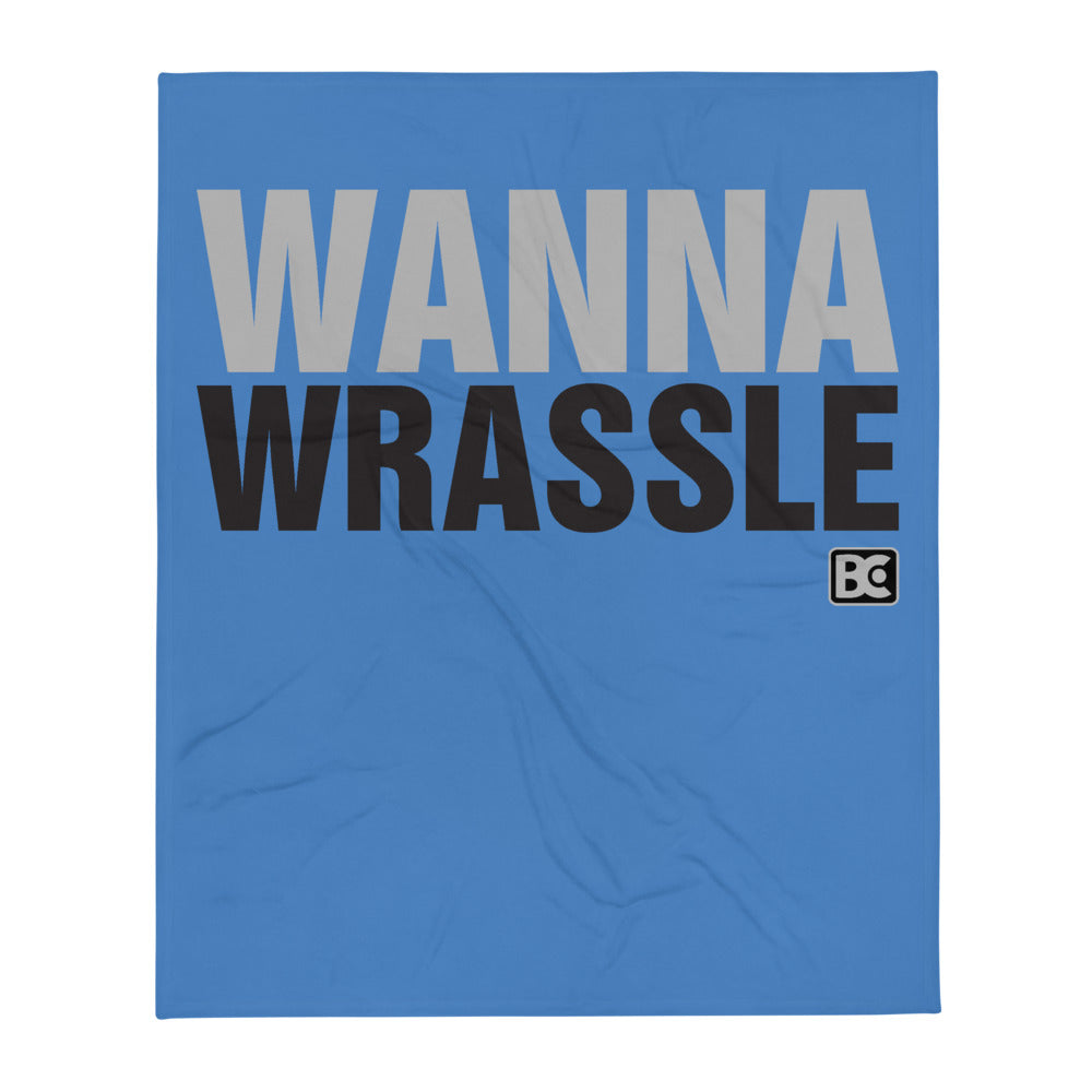 Wanna Wrassle Wrestling Throw Blanket