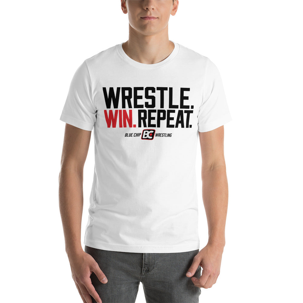 Wrestle Win Repeat Premium Wrestling T-Shirt