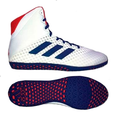 Adidas Mat Wizard 4 Wrestling Shoes (White/ Royal / Red)