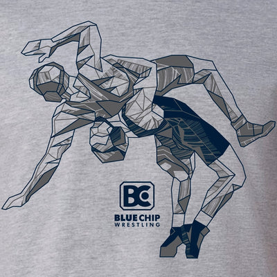 Blue Chip Wrestling Icon T-Shirt (Grey / Navy)