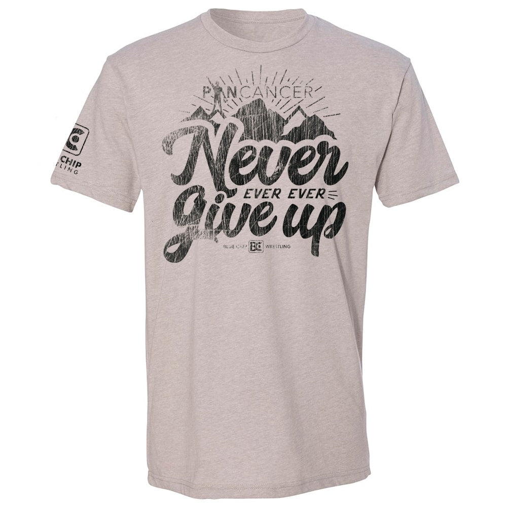 Never Ever Give Up Pin Cancer Wrestling T-Shirt