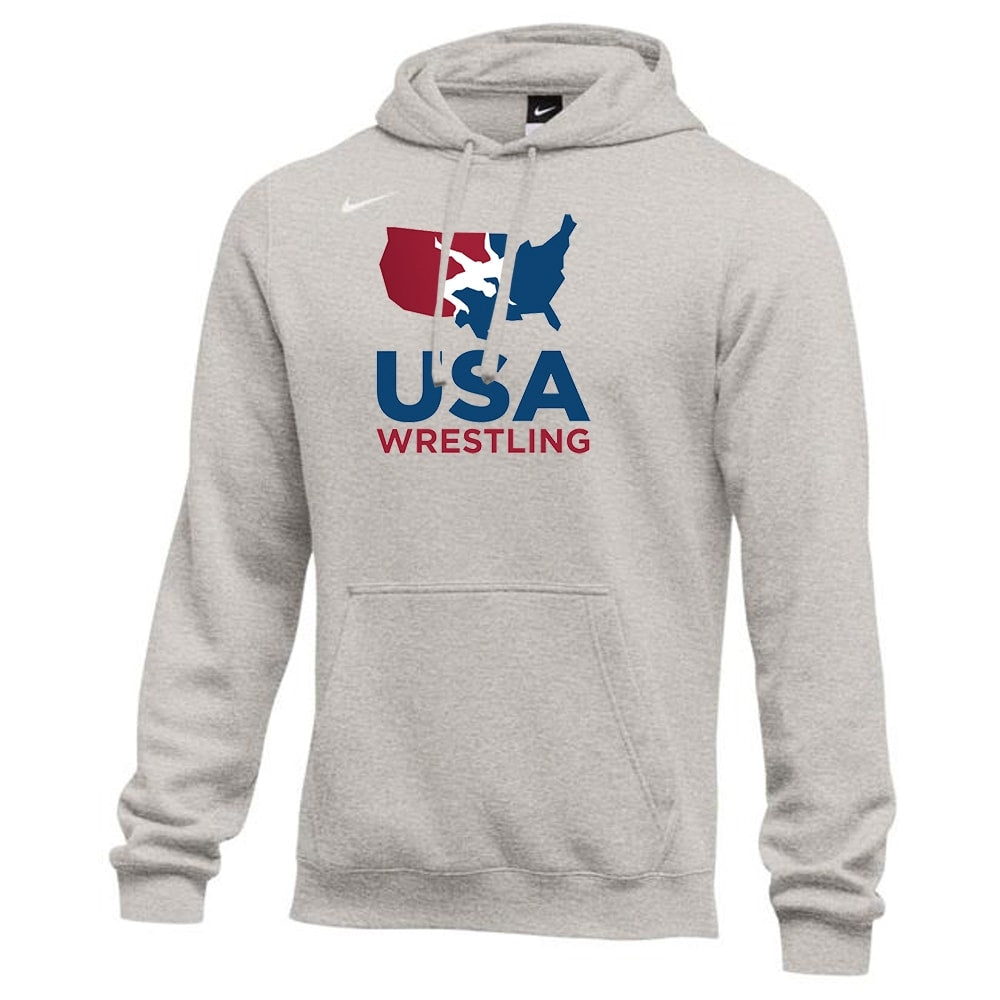 Nike USA Wrestling Club Fleece Hoodie (Heather Grey)