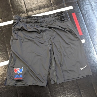 Nike USA Wrestling Men's 2 Pocket Fly Short (Grey)