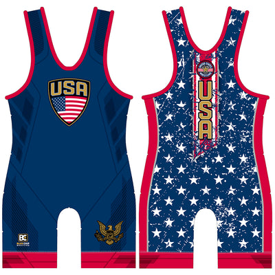Stars and Stripes Blue Wrestling Singlet