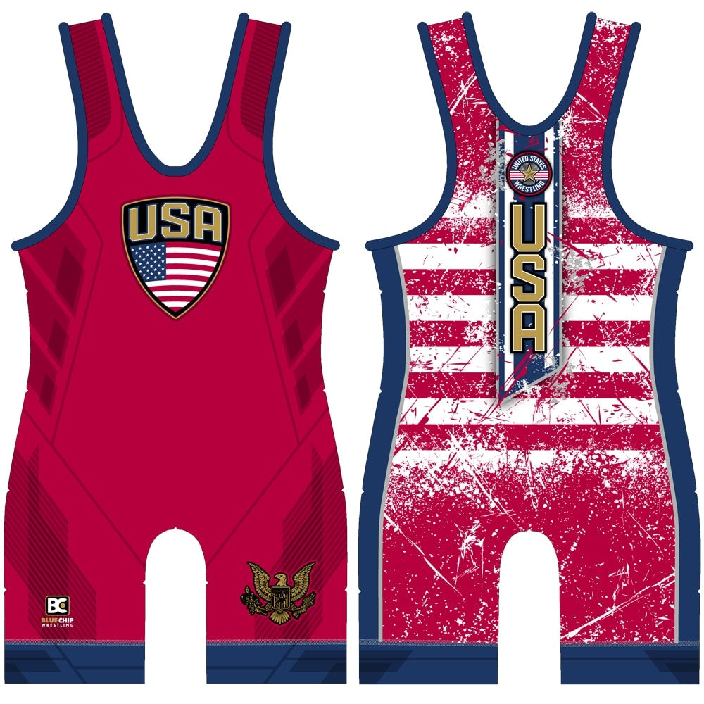 Made 4 U Stars and Stripes Red Wrestling Singlet