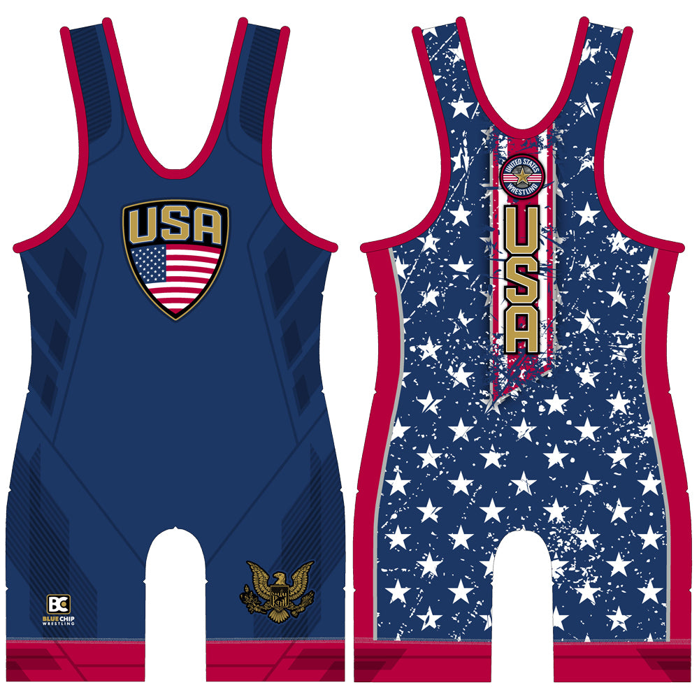 Made 4 U Stars and Stripes Blue Wrestling Singlet