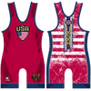 Stars and Stripes Red Wrestling Singlet