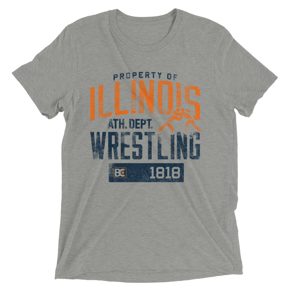 Property Of Illinois Triblend Wrestling T-Shirt