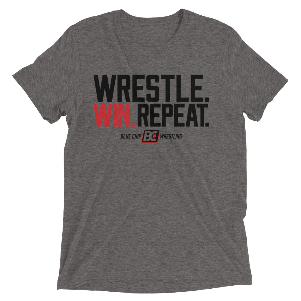 Wrestle Win Repeat Triblend Wrestling T-Shirt