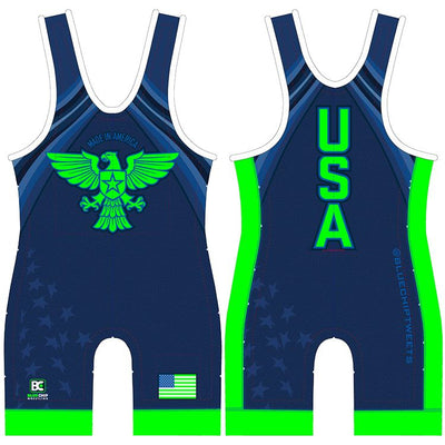 Made 4 U Made in America Wrestling Singlet (Blue)