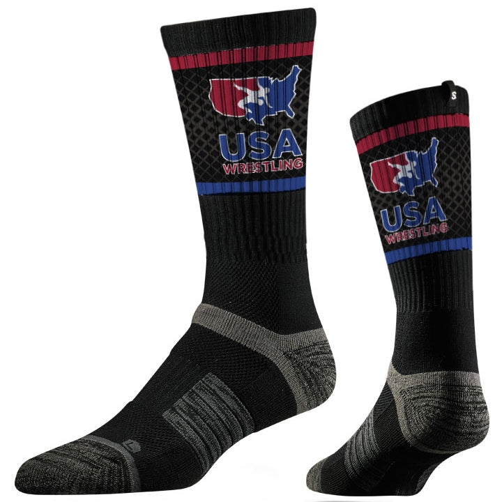 USA Wrestling Black Performance Socks