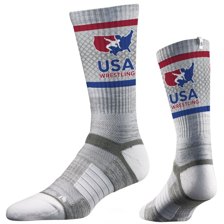 USA Wrestling Grey Performance Socks