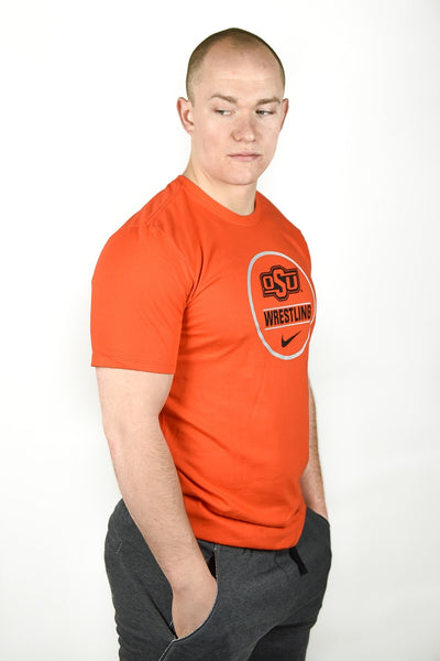 Oklahoma State Cowboys Nike Wrestling Dri-Fit Cotton Short Sleeve Tee