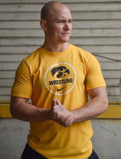 Iowa Hawkeyes Nike Wrestling Dri-Fit Cotton Short Sleeve Tee