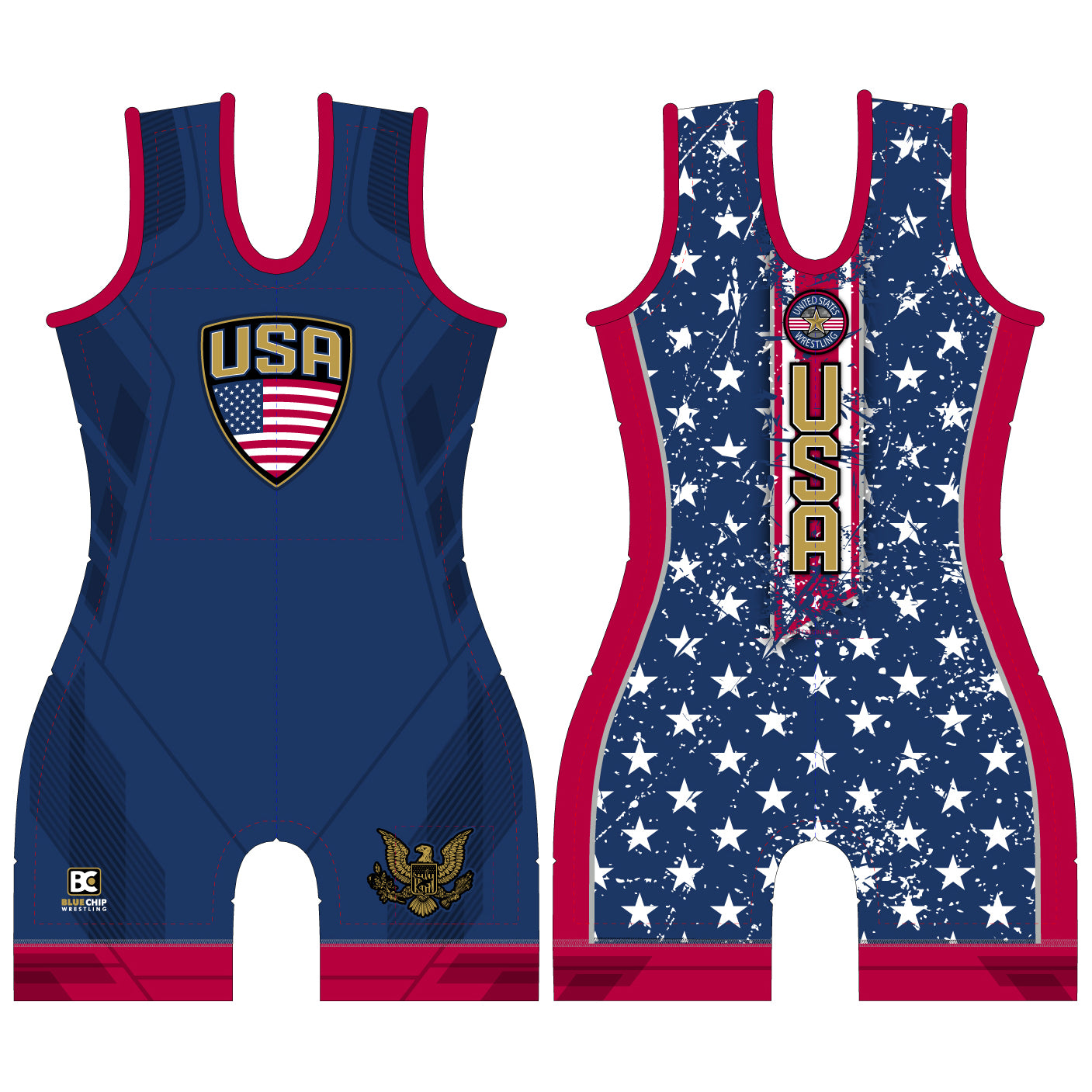 Women's Stars and Stripes Blue Wrestling Singlet