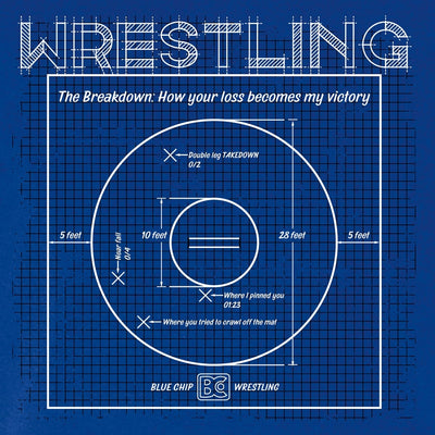 Wrestling Mat Blueprint Wrestling T-Shirt (Deep Royal)