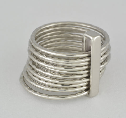 Custom: White gold 10 band ring