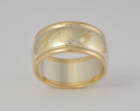 Custom: 22kt and Sterling Silver Mokume Gane ring with rails 11mm wide