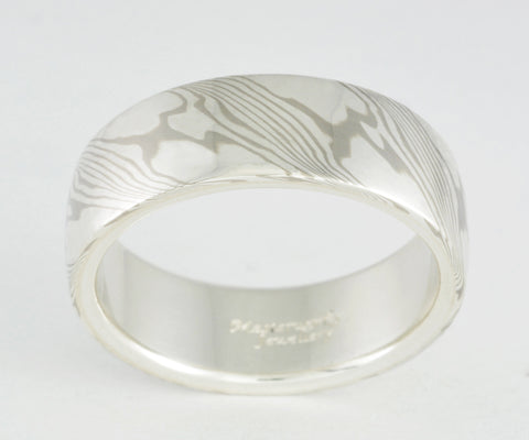 Mokume Gane Ring - Palladium White Gold and Sterling Silver, Wide