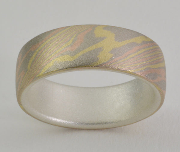 Mokume Gane Ring - 18kt Trigold and Sterling Silver, Wide