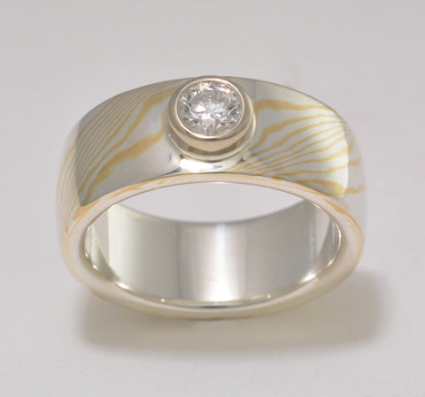 Custom: 22kt Yellow Gold and Sterling Silver Mokume Gane Ring with Canadian Diamond