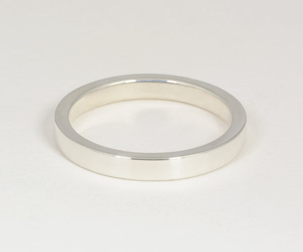 Solid Band - 2mm X 3mm Sterling Silver or 14kt White Gold band